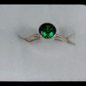 10mm Diamond Cut Emerald Sterling Silver Ring